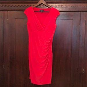 Ralph Lauren faux wrap dress, v-neck, dark coral